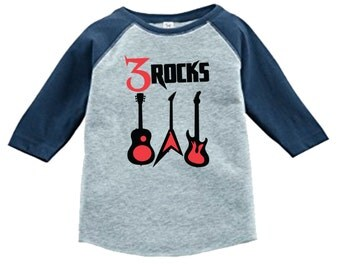 Personalized Birthday Guitar Rockstar Shirt - 3/4 or long sleeve relaxed fit raglan baseball shirt - Any age and name - pick your colors!