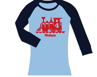 Train Birthday Shirt -  cropped/long sleeve fitted raglan shirt - any age and name - pick your colors!