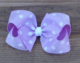 Boutique Hair Bow~Easter Hair Bow~Light Purple Polka Dot Hair Bow~Large Boutique Bow~Basic Hair Bow~Basic Boutique Bow~Simple Hair Bow