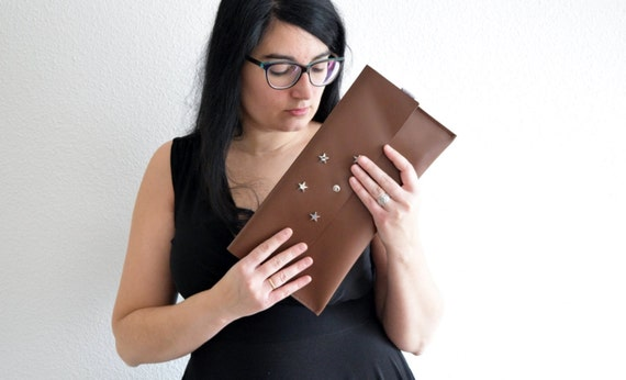 Brown clutch,leather handbag,stars clutch,stars handbag,brown leather clutch,leather clutches,leather handbags,brown clutches,rivets clutch