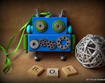 Robot Ornament - Gear Bot (Blue/Green) - Upcycled Ornament - Hanging Decor by Jen Hardwick