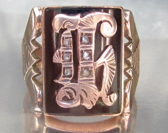 Antique (Dated 1895) Victorian Initial H Rose Cut Diamonds Rose Gold Signet Ring 14k