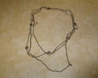 vintage necklace triple strand silvertone chain cross