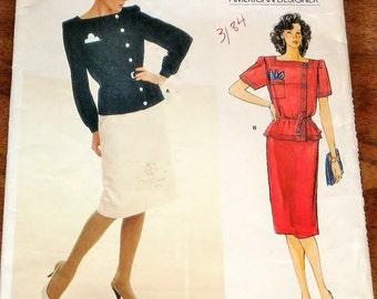Vogue American Designer 1330 Adele Simpson Tunic Top, Skirt, Women's Misses Vintage 1980s Sewing Pattern Size 12 Bust 34 Uncut Factory Folds