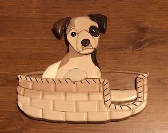 Wooden Intarsia Puppy in her wicker basket