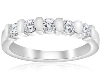 Diamond Wedding Ring 1/2ct Bar Set 5-Stone Diamond Ring 14k White Gold Womens Stackable Band Anniversary Engagement Guard Band Round Cut