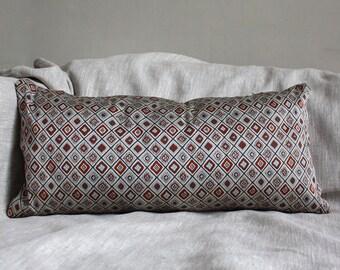 Lumbar Obi Cushion Covers. Grey, Geometric Red/ Blue. 30x60cm. 12x24''