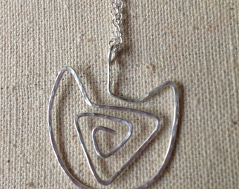 Sterling Silver Artisan Cat Pendant with Chain