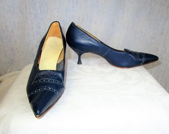 50s 6 Leather Stiletto Heels Pumps SHOES Navy Blue Brogue