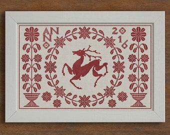 PDF Summertime Stag cross stitch patterns by Modern Folk at thecottageneedle.com monochromatic