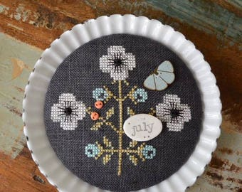 July Chalk Squared cross stitch pattern by Squareology Hands On Design at thecottageneedle.com Summer vacation