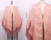 Vintage 1870's Silk Rose Mantle • 1870's Fringe & Paisley Embroidered Cape