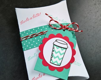Coffee Gift Card Holder, Gift Card Envelope, Coffee Pillow Box, Teacher Gift, Thanks a Latte, Teacher Appreciation Gift, Coffee Lover Gift
