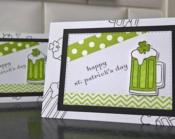 St. Patricks Day Card, Green Beer Card, Handmade St. Patty's Day, Saint Patrick's Day, Shamrock Card, Irish Card