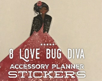 African American Love Bug Diva and Date 8 hand cut, hand glittered, accessory planner stickers