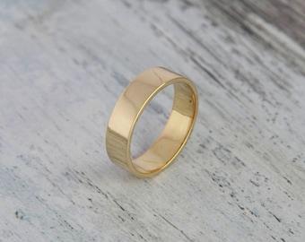 Flat 14K Yellow Gold Wedding Ring, 4.5mm - Unisex Solid Yellow Gold any size  Flat Band Sizeable Bridal Jewelry
