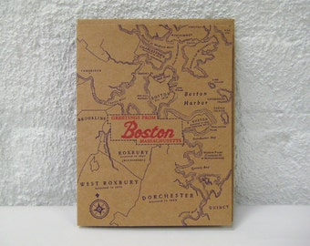 Greetings from Boston - Letterpress Greeting Card - Back Bay - Beacon Hill - Cambridge - Charlestown -  Fenway - Roxbury - North South End