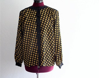 Black Yellow Polka Dot Print Blouse