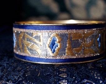 Antique ribbon bracelet, royal blue silk grosgrain ribbon paired w/ an antique French gold & silver lamé metallic silk ribbon