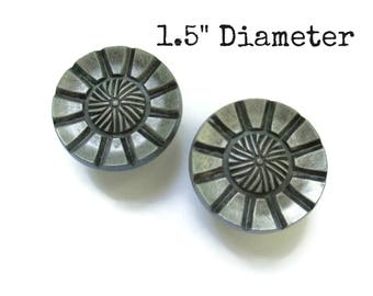 CLEARANCE - Pair of 2 vintage rustic art deco aged pewter drawer knobs