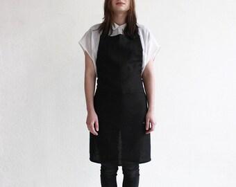 Linen apron, Full apron, Black apron, Unisex apron, Black linen apron, Apron with pockets, Men's apron, Women's aprons