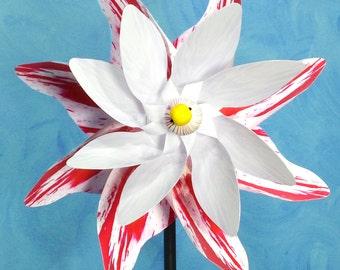 White & Striped Rose Flower Double Spin Pinwheel Whirligig Spinner Windmill Fan