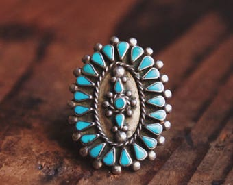 VC-102, vintage sterling silver and turquoise ring size 7
