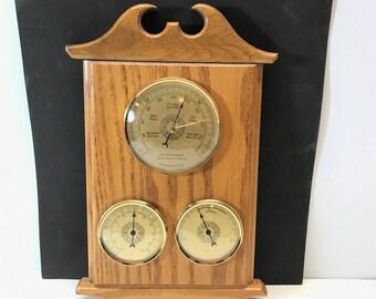 Vintage France Barometer Temperature Humidity Gauge .  Weather Station Brass Oak