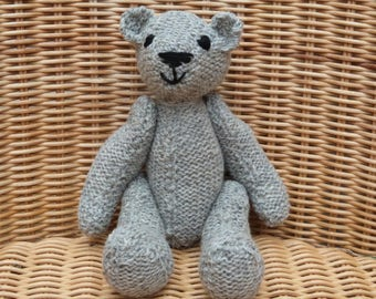 "8"" Handmade Teddy Bear Traditional Teddy Hand Knitted Old Fashioned Vintage Style Light Grey Bear Hand Knitted Bear Hand Knitted Teddy Bear"