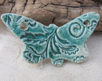 Jade Green Brocade Ceramic Butterfly Bib Pendant