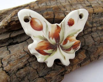 Hazelnut Bunch Ceramic Butterfly Pendant
