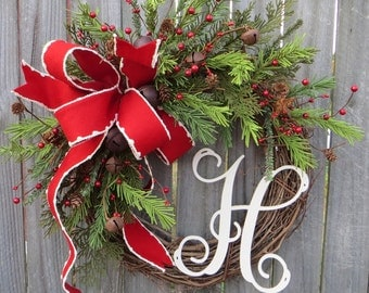 Christmas Grapevine Wreath with Rustic Bells, Christmas Wreath, Holiday Wreath, Christmas Wreath, Monogram Christmas Wreath, Wreath Initial