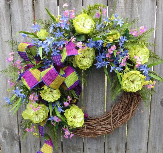 Bright Wreath, Spring / Summer Wreath, Electric Colors Wreath