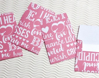 12 teeny tiny miniature square Valentine pink envelope mini note card sets stationery party favors weddings guest book