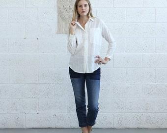 Pre Winter Sale 15% Button shirt with pockets, button up blouse, cotton shirt.