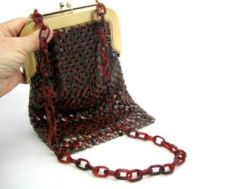 Brown Shoulder Bag. Whiting & Davis Mesh Purse. Tortoiseshell, Rust Red. Mod Snake Pattern. Alumesh w/ Lucite Chian Vintage 1960s Handbag NM