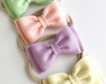 Felt Bow Headbands - Felt Bows - Easter Baby Headbands - Pastel Baby Bows - Wool Felt Bows - Felt Bow Clips - Felt Bow Nylon Headbands -Felt