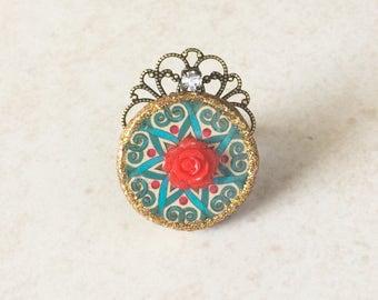 Turquoise Blue Moroccan Mandala Red Flower Ring, Red Rose Blue Tile Resin Statement Ring