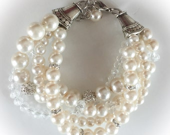 Pearl Bridal bracelet, statement bracelet, wedding jewelry