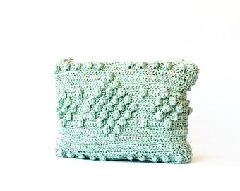 Mint raffia purse, beach straw bag, popcorn beach bag, mint summer bag, beach clutch purse, nautical beach bag, straw beach bag, mint green