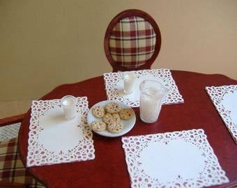 Dollhouse Miniature 1:12 Scale Milk Set And Cookie Plate