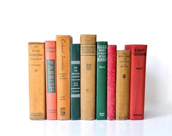 Vintage Red Green and Tan Book Collection
