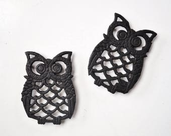Vintage Cast Iron Owl Trivets