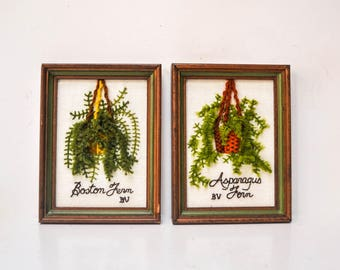 Pair of Vintage Framed Crewel Houseplant Wall Hangings