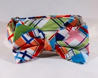 Preppy Madras Bow Tie Dog Collar