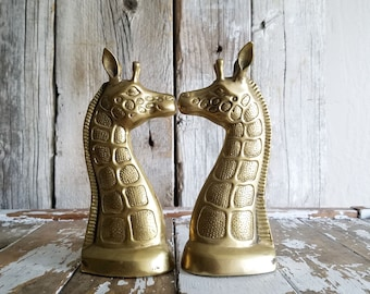 Vintage Brass Giraffe Bookends // Nursery Display