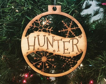 Hunter - Customizable Christmas Ornament - Engraved Birch Wood Ornament