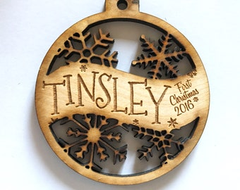 Tinsley - Customizable Baby's First Christmas Ornament - Engraved Birch Wood Ornament