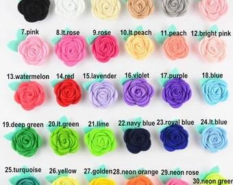 Set of 30 Felt Flower, Felt Pattern, Felt Tutorial - Felt Roses- Felt Rose Headband Tutorial - Wool felt flowers Floral Craft Embellishments