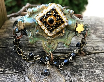 Artisian Copper Cuff Braclet .Patina painted Etruscan style brass part assembledge bracelet.The Baroque Princess original Jewelry collection